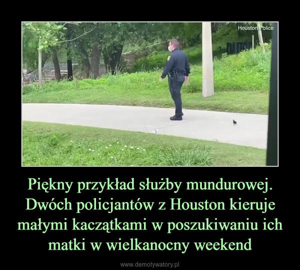 Piękny przykład służby mundurowej. Dwóch policjantów z Houston kieruje małymi kaczątkami w poszukiwaniu ich matki w wielkanocny weekend –