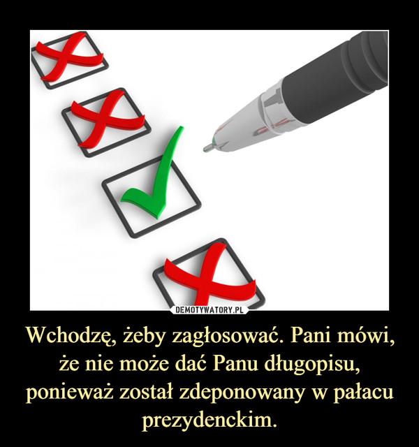 Wchodzę, żeby zagłosować. Pani mówi, że nie może dać Panu długopisu, ponieważ został zdeponowany w pałacu prezydenckim. –