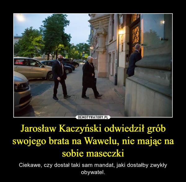 Jarosław Kaczyński odwiedził grób swojego brata na Wawelu, nie mając na sobie maseczki – Ciekawe, czy dostał taki sam mandat, jaki dostałby zwykły obywatel.