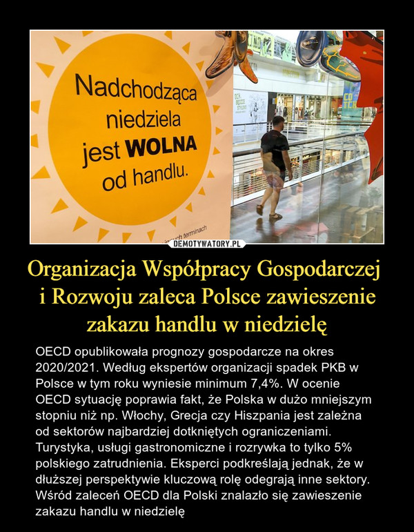 Organizacja Współpracy Gospodarczej i Rozwoju zaleca Polsce zawieszenie zakazu handlu w niedzielę – OECD opublikowała prognozy gospodarcze na okres 2020/2021. Według ekspertów organizacji spadek PKB w Polsce w tym roku wyniesie minimum 7,4%. W ocenie OECD sytuację poprawia fakt, że Polska w dużo mniejszym stopniu niż np. Włochy, Grecja czy Hiszpania jest zależna od sektorów najbardziej dotkniętych ograniczeniami. Turystyka, usługi gastronomiczne i rozrywka to tylko 5% polskiego zatrudnienia. Eksperci podkreślają jednak, że w dłuższej perspektywie kluczową rolę odegrają inne sektory. Wśród zaleceń OECD dla Polski znalazło się zawieszenie zakazu handlu w niedzielę