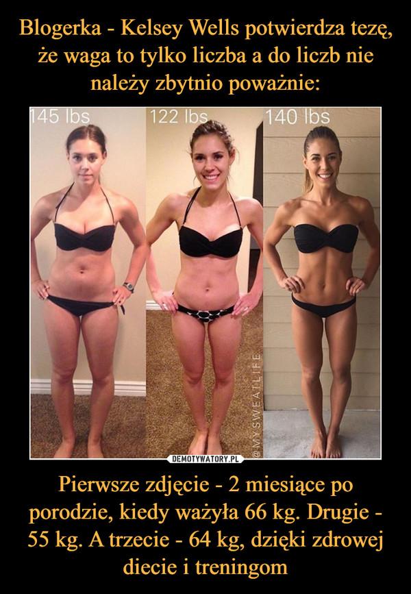Pierwsze zdjęcie - 2 miesiące po porodzie, kiedy ważyła 66 kg. Drugie - 55 kg. A trzecie - 64 kg, dzięki zdrowej diecie i treningom –