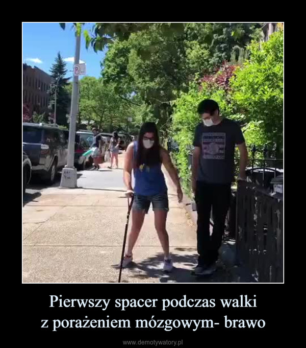 Pierwszy spacer podczas walkiz porażeniem mózgowym- brawo –