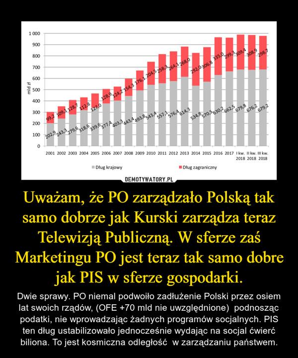 Uważam, że PO zarządzało Polską tak samo dobrze jak Kurski zarządza teraz Telewizją Publiczną. W sferze zaś Marketingu PO jest teraz tak samo dobre jak PIS w sferze gospodarki. – Dwie sprawy. PO niemal podwoiło zadłużenie Polski przez osiem lat swoich rządów, (OFE +70 mld nie uwzględnione)  podnosząc podatki, nie wprowadzając żadnych programów socjalnych. PIS ten dług ustabilizowało jednocześnie wydając na socjal ćwierć biliona. To jest kosmiczna odległość  w zarządzaniu państwem.