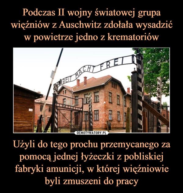 Użyli do tego prochu przemycanego zapomocą jednej łyżeczki z pobliskiej fabryki amunicji, w której więźniowie byli zmuszeni do pracy –