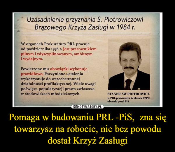 Pomaga w budowaniu PRL -PiS,  zna się towarzysz na robocie, nie bez powodu dostał Krzyż Zasługi –