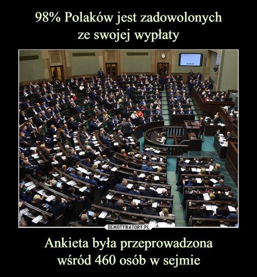 98% Polaków jest zadowolonych ze swojej wypłaty Ankieta była przeprowadzona wśród 460 osób w sejmie