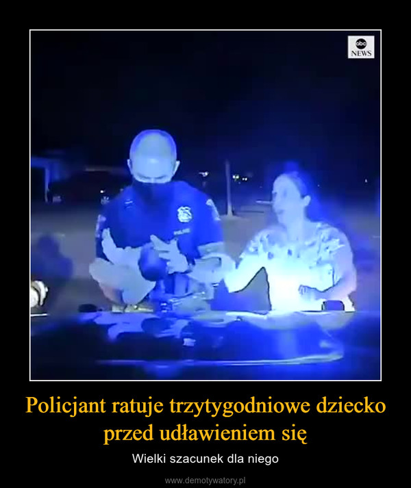 Policjant ratuje trzytygodniowe dziecko przed udławieniem się – Wielki szacunek dla niego