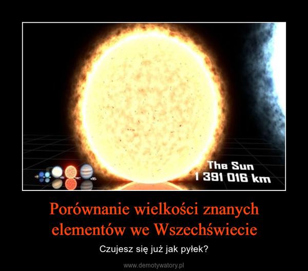 Porównanie wielkości znanych elementów we Wszechświecie – Czujesz się już jak pyłek?
