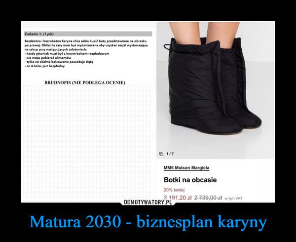 Matura 2030 - biznesplan karyny –