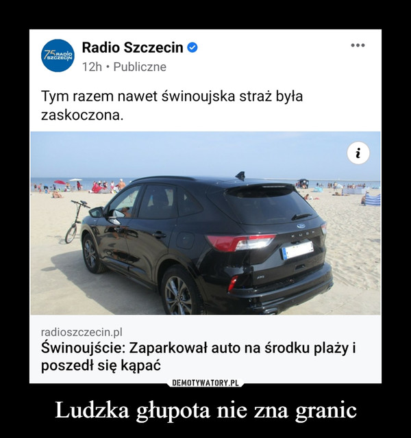 Ludzka głupota nie zna granic –  Świnoujście: Zaparkował auto na środku plaży i poszedł się kąpać