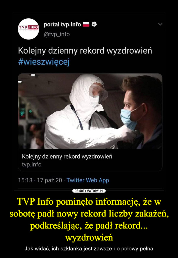 TVP Info pominęło informację, że w sobotę padł nowy rekord liczby zakażeń, podkreślając, że padł rekord... wyzdrowień – Jak widać, ich szklanka jest zawsze do połowy pełna portal tvp.infoFlaga Polski@tvp_infoKolejny dzienny rekord wyzdrowień #wieszwięcej
