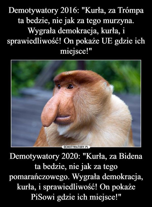 """Demotywatory 2020: """"Kurła, za Bidena ta bedzie, nie jak za tego pomarańczowego. Wygrała demokracja, kurła, i sprawiedliwość! On pokaże PiSowi gdzie ich miejsce!"""" –"""