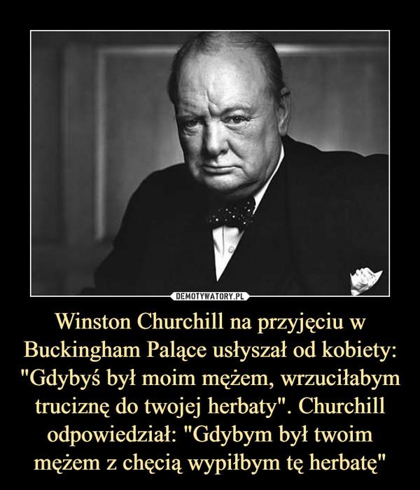 """Winston Churchill na przyjęciu w Buckingham Palące usłyszał od kobiety: """"Gdybyś był moim mężem, wrzuciłabym truciznę do twojej herbaty"""". Churchill odpowiedział: """"Gdybym był twoim mężem z chęcią wypiłbym tę herbatę"""" –"""