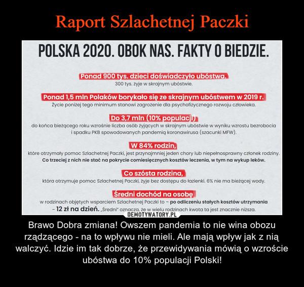 """– Brawo Dobra zmiana! Owszem pandemia to nie wina obozu rządzącego - na to wpływu nie mieli. Ale mają wpływ jak z nią walczyć. Idzie im tak dobrze, że przewidywania mówią o wzroście ubóstwa do 10% populacji Polski! POLSKA 2020. OBOK NAS. FAKTY O BIEDZIE.Ponad 900 tys. dzieci doświadczyło ubóstwa.300 tys. żyje w skrajnym ubóstwie.Ponad 1,5 mln Polaków borykało się ze skrajnym ubóstwem w 2019 r.Życie poniżej tego minimum stanowi zagrożenie dla psychofizycznego rozwoju człowieka.Do 3,7 mln (10% populacji)do końca bieżącego roku wzrośnie liczba osób żyjących w skrajnym ubóstwie w wyniku wzrostu bezrobociai spadku PKB spowodowanych pandemią koronawirusa (szacunki MFW).W 84% rodzin,które otrzymały pomoc Szlachetnej Paczki, jest przynajmniej jeden chory lub niepełnosprawny członek rodziny.Co trzeciej z nich nie stać na pokrycie comiesięcznych kosztów leczenia, w tym na wykup leków.Co szósta rodzina,która otrzymuje pomoc Szlachetnej Paczki, żyje bez dostępu do łazienki. 6% nie ma bieżącej wody.średni dochód na osobęw rodzinach objętych wsparciem Szlachetnej Paczki to - po odliczeniu stałych kosztów utrzymania- 12 zł na dzień. """"Średni"""" oznacza, że w wielu rodzinach kwota ta jest znacznie niższa."""