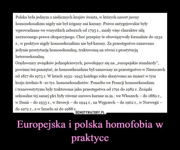 Europejska i polska homofobia w praktyce –
