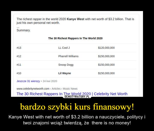 bardzo szybki kurs finansowy! – Kanye West with net worth of $3.2 billion a nauczyciele, politycy i twoi znajomi wciąż twierdzą, że  there is no money!