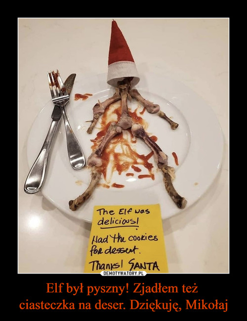 Elf był pyszny! Zjadłem też  ciasteczka na deser. Dziękuję, Mikołaj