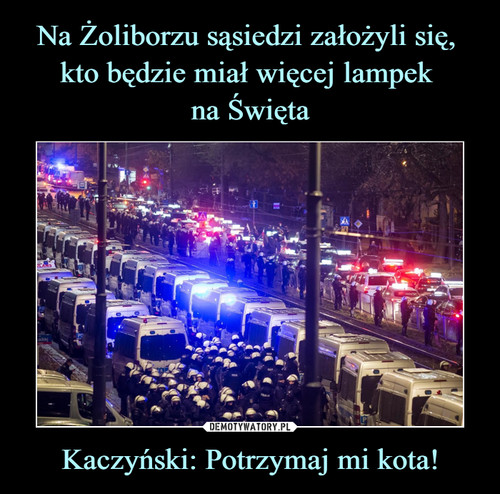 Na Żoliborzu sąsiedzi założyli się,  kto będzie miał więcej lampek  na Święta Kaczyński: Potrzymaj mi kota!