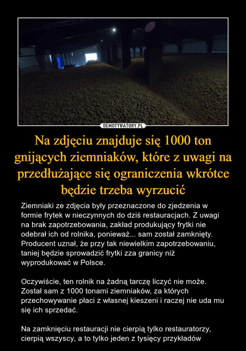 Na zdjęciu znajduje się 1000 ton gnijących ziemniaków, które z uwagi na przedłużające się ograniczenia wkrótce będzie trzeba wyrzucić