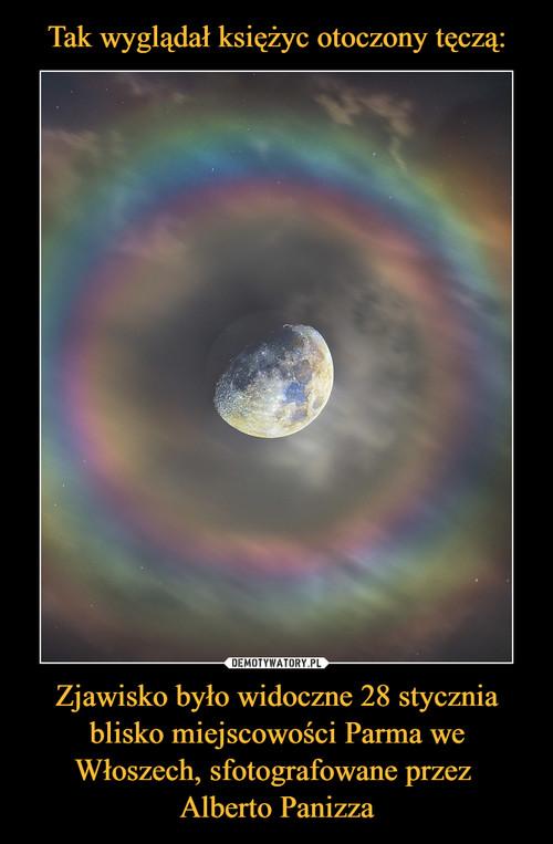Tak wyglądał księżyc otoczony tęczą: Zjawisko było widoczne 28 stycznia blisko miejscowości Parma we Włoszech, sfotografowane przez  Alberto Panizza