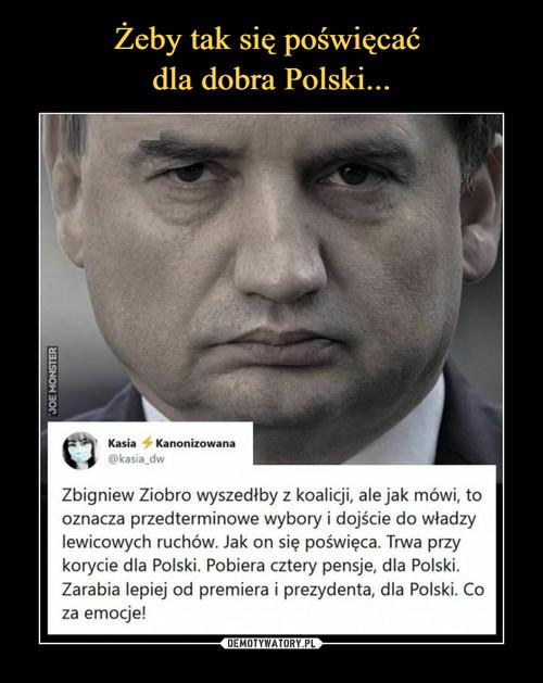Żeby tak się poświęcać  dla dobra Polski...