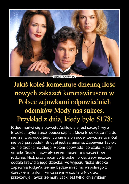 Jakiś koleś komentuje dzienną ilość nowych zakażeń koronawirusem w Polsce zajawkami odpowiednich odcinków Mody nas sukces. Przykład z dnia, kiedy było 5178: