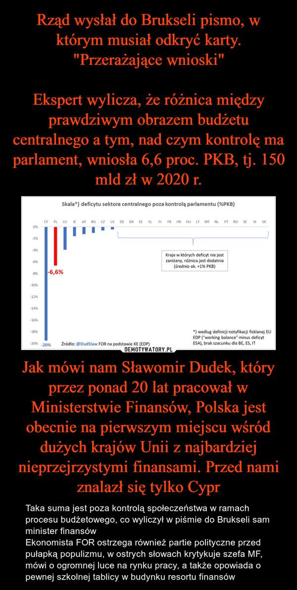 Jak mówi nam Sławomir Dudek, który przez ponad 20 lat pracował w Ministerstwie Finansów, Polska jest obecnie na pierwszym miejscu wśród dużych krajów Unii z najbardziej nieprzejrzystymi finansami. Przed nami znalazł się tylko Cypr – Taka suma jest poza kontrolą społeczeństwa w ramach procesu budżetowego, co wyliczył w piśmie do Brukseli sam minister finansówEkonomista FOR ostrzega również partie polityczne przed pułapką populizmu, w ostrych słowach krytykuje szefa MF, mówi o ogromnej luce na rynku pracy, a także opowiada o pewnej szkolnej tablicy w budynku resortu finansów