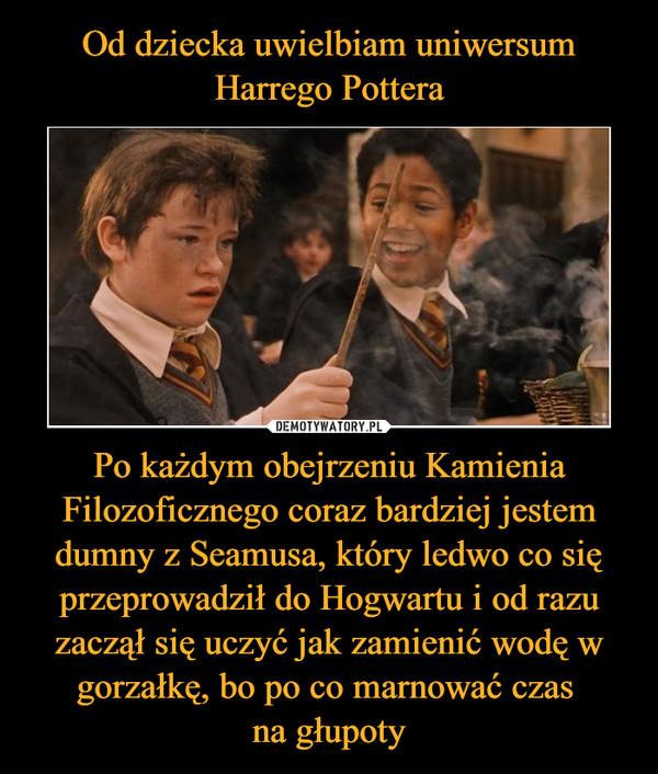 Po każdym obejrzeniu Kamienia Filozoficznego coraz bardziej jestem dumny z Seamusa, który ledwo co się przeprowadził do Hogwartu i od razu zaczął się uczyć jak zamienić wodę w gorzałkę, bo po co marnować czas na głupoty –