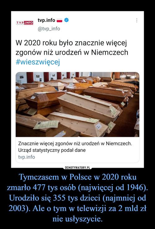 Tymczasem w Polsce w 2020 roku zmarło 477 tys osób (najwięcej od 1946). Urodziło się 355 tys dzieci (najmniej od 2003). Ale o tym w telewizji za 2 mld zł nie usłyszycie.