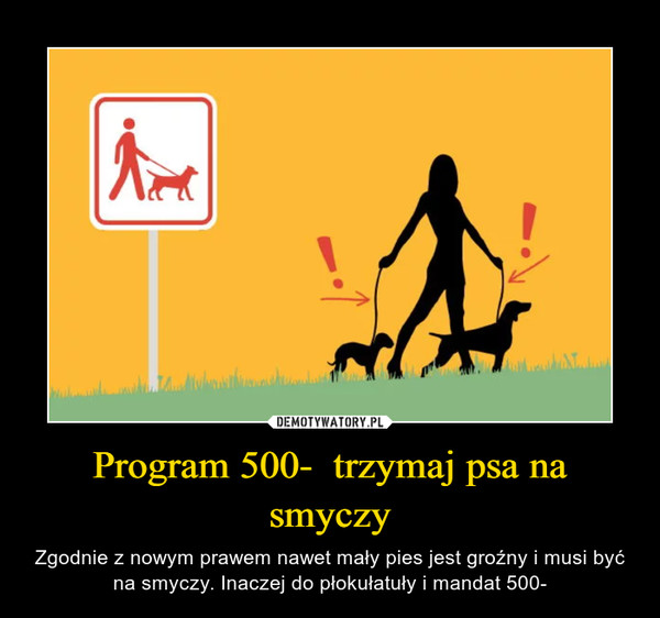 Program 500-  trzymaj psa na smyczy – Zgodnie z nowym prawem nawet mały pies jest groźny i musi być na smyczy. Inaczej do płokułatuły i mandat 500-