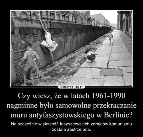 Czy wiesz, że w latach 1961-1990 nagminne było samowolne przekraczanie muru antyfaszystowskiego w Berlinie?