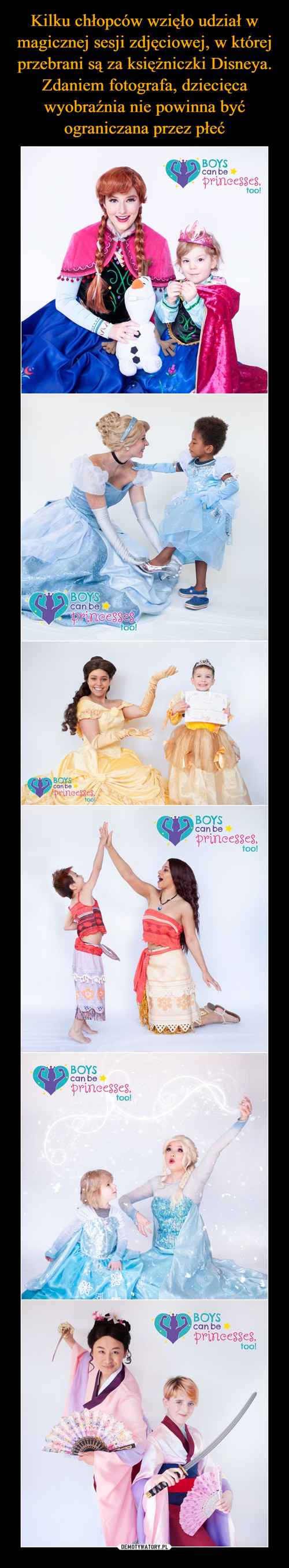 Kilku chłopców wzięło udział w magicznej sesji zdjęciowej, w której przebrani są za księżniczki Disneya. Zdaniem fotografa, dziecięca wyobraźnia nie powinna być ograniczana przez płeć