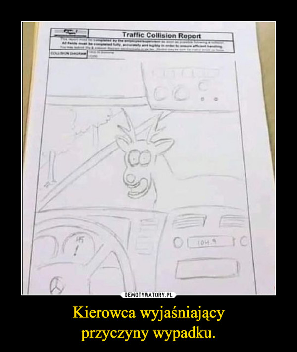 Kierowca wyjaśniającyprzyczyny wypadku. –