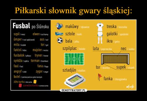 Piłkarski słownik gwary śląskiej: