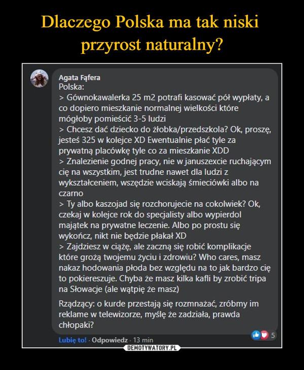 Dlaczego Polska ma tak niski  przyrost naturalny?