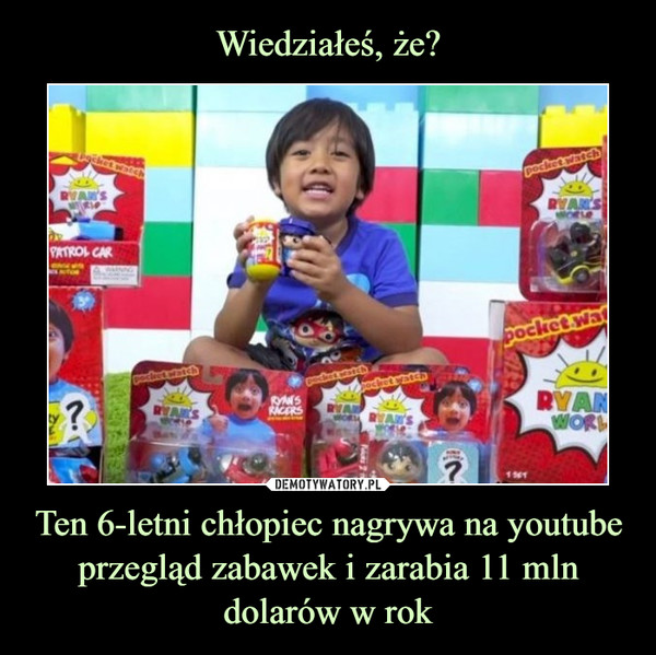 Ten 6-letni chłopiec nagrywa na youtube przegląd zabawek i zarabia 11 mln dolarów w rok –