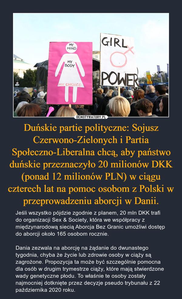 Duńskie partie polityczne: Sojusz Czerwono-Zielonych i Partia Społeczno-Liberalna chcą, aby państwo duńskie przeznaczyło 20 milionów DKK (ponad 12 milionów PLN) w ciągu czterech lat na pomoc osobom z Polski w przeprowadzeniu aborcji w Danii. – Jeśli wszystko pójdzie zgodnie z planem, 20 mln DKK trafi do organizacji Sex & Society, która we współpracy z międzynarodową siecią Aborcja Bez Granic umożliwi dostęp do aborcji około 165 osobom rocznie.Dania zezwala na aborcję na żądanie do dwunastego tygodnia, chyba że życie lub zdrowie osoby w ciąży są zagrożone. Propozycja ta może być szczególnie pomocna dla osób w drugim trymestrze ciąży, które mają stwierdzone wady genetyczne płodu. To właśnie te osoby zostały najmocniej dotknięte przez decyzje pseudo trybunału z 22 października 2020 roku.