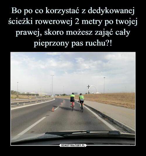 Bo po co korzystać z dedykowanej ścieżki rowerowej 2 metry po twojej prawej, skoro możesz zająć cały pieprzony pas ruchu?!