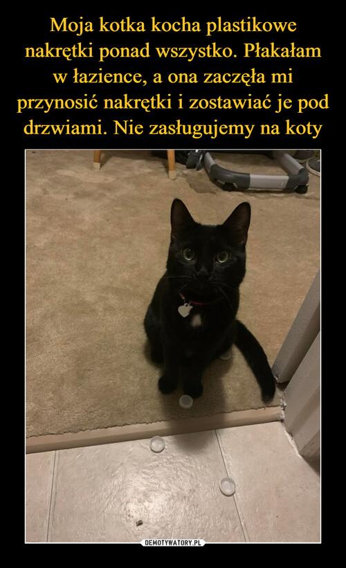 Moja kotka kocha plastikowe nakrętki ponad wszystko. Płakałam w łazience, a ona zaczęła mi przynosić nakrętki i zostawiać je pod drzwiami. Nie zasługujemy na koty