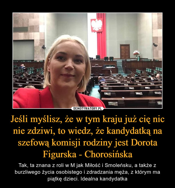 Jeśli myślisz, że w tym kraju już cię nic nie zdziwi, to wiedz, że kandydatką na szefową komisji rodziny jest Dorota Figurska - Chorosińska